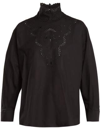 Fendi High Neck Broderie Anglaise Cotton Blouse - Womens - Black