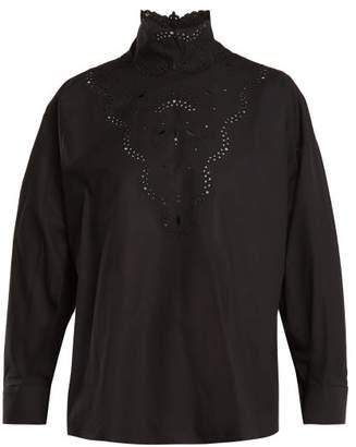 f3d086b589cc8c Fendi High Neck Broderie Anglaise Cotton Blouse - Womens - Black