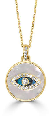 Frederic Sage 14k Diamond Evil Eye Mother-of-Pearl Necklace