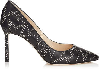 Jimmy Choo ROMY 85 Black Nappa Leather Pointy Toe Pumps with Anthracite Micro Star Studded Detail