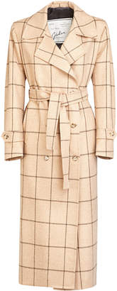 Giuliva Heritage Collection Christie Double Breasted Merino Wool Check Trench Coat