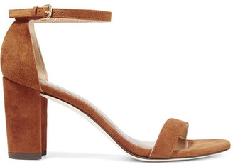 Stuart Weitzman - Nearlynude Suede Sandals - Light brown $400 thestylecure.com