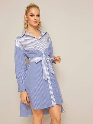 Shein Two Tone Vertical Stripe Belted Shirt Dress
