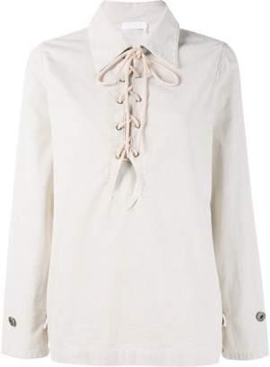 Chloé lace up corduroy shirt