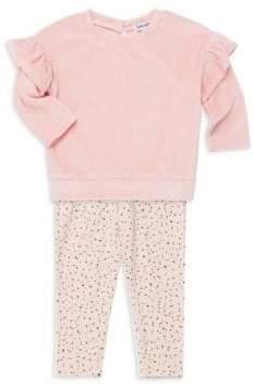 Splendid Baby Girl's Two-Piece Velour Sweatshirt & Polka Dot Leggings Set