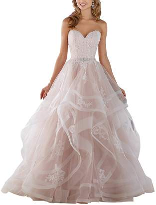 GMAR A Line Ruffled Tulle Wedding Dresses for Bride Off The Shoulder Formal Gowns