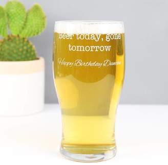 Lisa Angel Engraved 'Beer Today Gone Tomorrow' Pint Glass