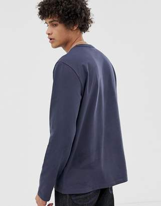 Asos loose fit heavyweight long sleeve t-shirt in navy