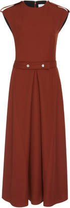 Victoria Beckham Belted Boiled-Wool Midi Dress