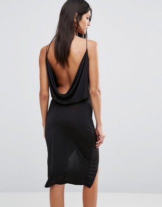 Club L Slinky Wrap Front Dress With Cowl Back $29 thestylecure.com