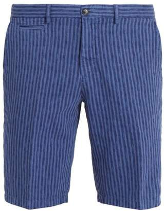 Altea Striped straight-leg cotton and linen-blend shorts