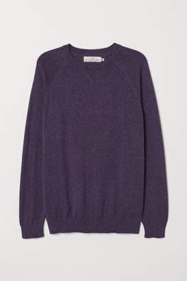 H&M Cotton Raglan-sleeved Sweater - Purple