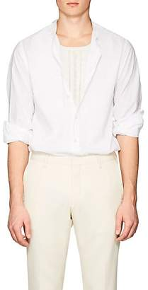 Officine Generale MEN'S BANDED-COLLAR COTTON VOILE SHIRT - WHITE SIZE L