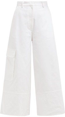 Moncler 2 1952 - Wide Leg Cotton Cargo Trousers - Womens - White