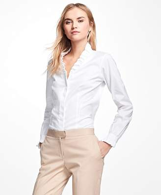 Non-Iron Ruffle Pinpoint Oxford Dress Shirt $118 thestylecure.com