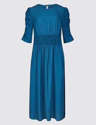 Marks and Spencer Half Sleeve Waisted Midi Dress