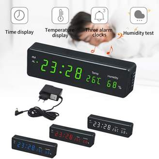 Hallolure Electronic LED Wall Clock Sport Temperature Humidity Display Home Clock