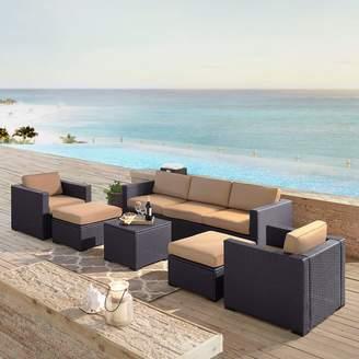Crosley Furniture Biscayne Patio Wicker Loveseat, Chair, Ottoman & Coffee Table 7-piece Set