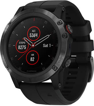 Garmin Unisex fenix 5x Plus Black Silicone Strap Smart Watch 51mm
