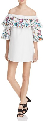 Parker Cathy Off-the-Shoulder Dress $298 thestylecure.com
