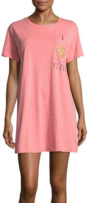 Asstd National Brand Peace Love & Dreams Short Sleeve Round Neck Nightshirt-Juniors