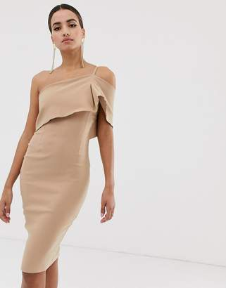 Vesper one shoulder bodycon dress in taupe