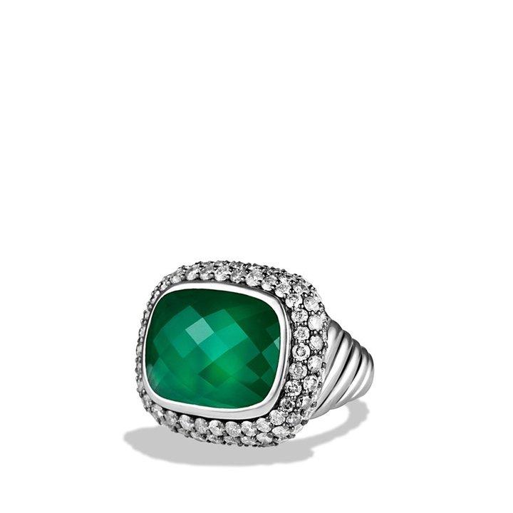 David Yurman Waverly Limited-Edition Ring with Green Onyx and Gray Diamonds