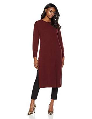 Peplum Pointe Cashmere Crew Neck Long Sleeve Knitted Sweater Dress for Women