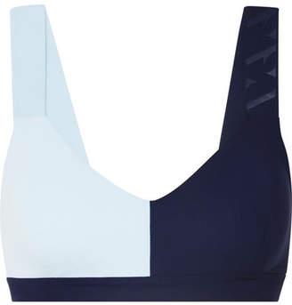 Vaara - Elsa Two-tone Stretch-knit Sports Bra - Navy