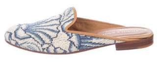 Stubbs & Wootton Leather Embroidered Flat Mules