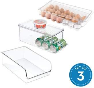 clear Idesign iDesign Linus Plastic Kitchen Bin and Egg Holder Set, 3-Piece,