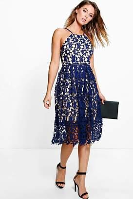 boohoo Boutique Ria Strappy Lace Midi Skater Dress $44 thestylecure.com
