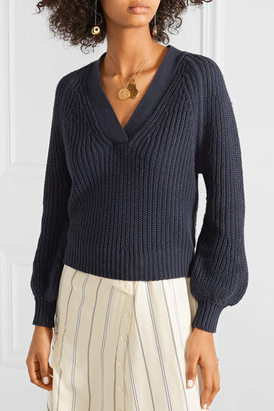 Apiece Apart Astro Ribbed Cotton And Cashmere-blend Sweater - Storm blue