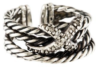 David Yurman Diamond X Crossover Ring $325 thestylecure.com