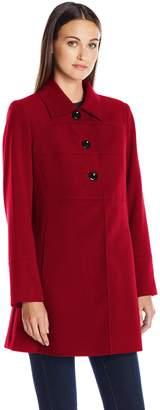 Larry Levine Women's Crepe Walker 3/4 Length Large Button Lightweight Coat