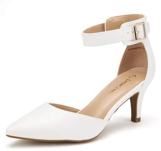 DREAM PAIRS LOWPOINTED NEW Women's Evening Dress Low Heel Ankle Strap D'orsay Pointed Toe Wedding Pumps Shoes Size 9