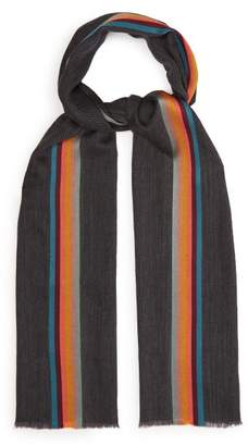 Paul Smith Artist Stripe Silk And Wool Blend Scarf - Mens - Grey