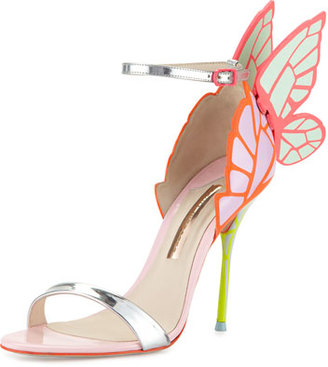Sophia Webster Chiara Butterfly Wing Ankle-Wrap Sandal, Orchid/Spearmint $595 thestylecure.com