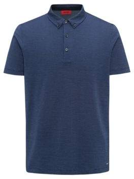 HUGO Boss Regular-fit polo shirt in mercerized micro jacquard S Dark Blue
