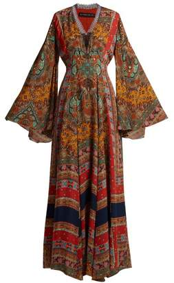 Etro Zoist Paisley Print Silk Chiffon Dress - Womens - Multi