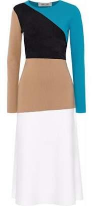 Diane von Furstenberg Terry-Paneled Intarsia-Knit Merino Wool-Blend Midi Dress