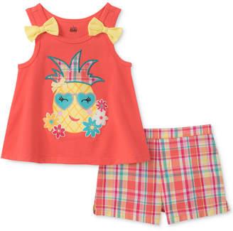 Kids Headquarters 2-Pc. Pineapple Tank Top & Plaid Shorts Set, Little Girls