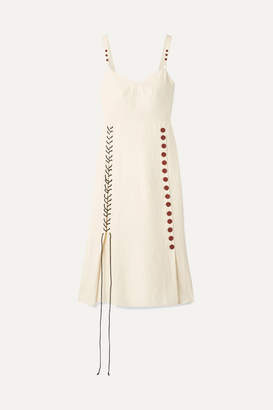 By Malene Birger Lace-up Woven Midi Dress