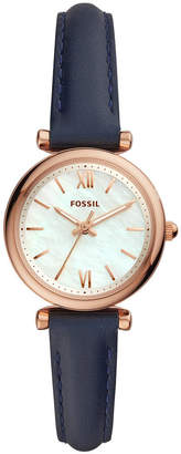 Fossil Women Mini Carlie Navy Leather Strap Watch 28mm