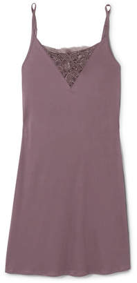 Hanro Camille Stretch Lace-paneled Modal-jersey Chemise - Grape