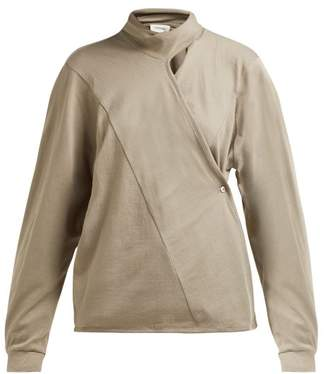 Lemaire Scarf Neck Cotton Jersey Wrap Blouse - Womens - Light Brown