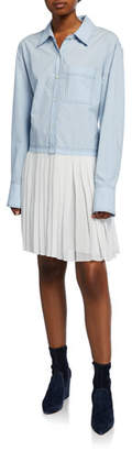 Derek Lam 10 Crosby Long-Sleeve Mixed Media Shirtdress with Pleated Hem