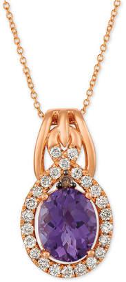 "LeVian Le Vian Amethyst (2-1/2 ct. t.w.) & Diamond (3/8 ct. t.w.) 20"" Pendant Necklace in 14k Rose Gold"