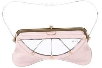 Fendi Mirror-Accented Leather Clutch