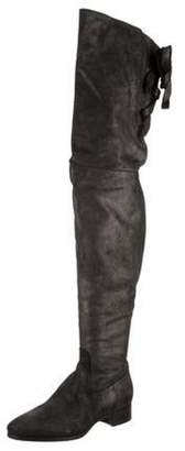 Santoni Leather Over-The-Knee Boots Rose Leather Over-The-Knee Boots